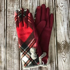 Plaid gloves with faux fur pom pom Smart Touch